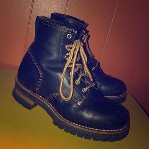 Skechers Black Leather Logger Work Boots Women's 8